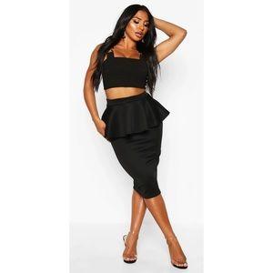 NWT Boohoo Scuba Peplum Midi Skirt Plus Size